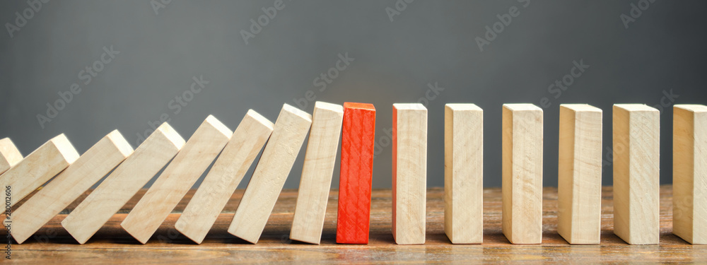 Fototapeta Wooden blocks and the effect of dominoes. Risk management concept. Successful strong business and problem solving. Reliable leader. Stop the destructive processes. Strategy development.