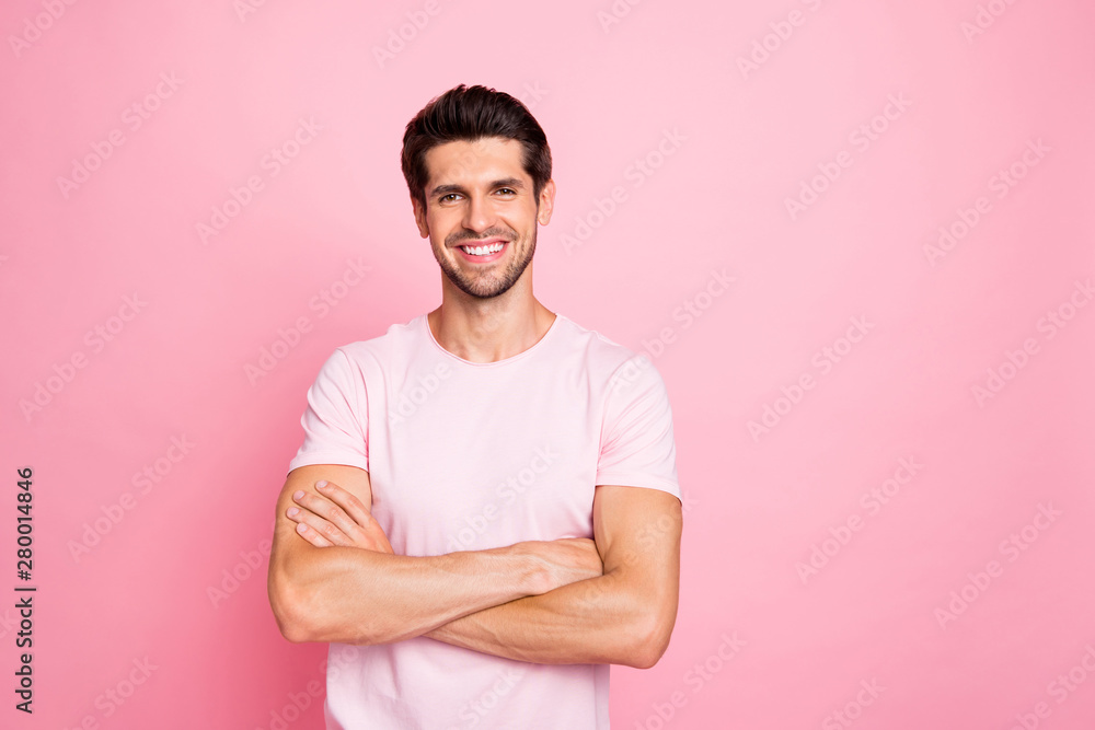 Fototapeta Portrait of his he nice attractive lovely sportive cheerful cheery glad content guy folded arms isolated over pink pastel background