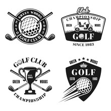 Golf And Golfing Vector Monoch...