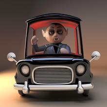 3d Cartoon Vampire Dracula Character Driving In His Black Car, 3d Illustration