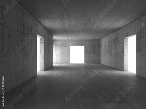 Fototapeta Abstract empty concrete corridor interior 3d