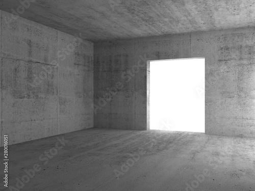 Fotografie, Obraz Empty glowing doorway in a corner. 3d