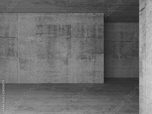 Obraz na plátně Abstract empty concrete room interior 3d
