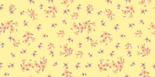 Vector Pattern Elementary Usual Fantasy Flowers Colorful Paisley Wallpaper. Print Design Vector Illustration.
