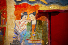 NAN ,THAILAND - July 22  Traditional Thai Mural Painting On Temple Wall At Wat Phumin  Nan, Thailand. The Famous Mural Painting Of A Man Whispering To The Ear Of A Woman.
