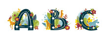 Tropical Exotic Letters ABC, African Animals, Flowers. Cute Cartoon Flat Style Font