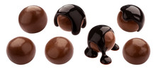Homemade Cocoa Balls, Dragee With Melted Chocolate Set