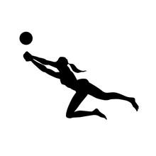 Beach Volleyball. Female Silho...