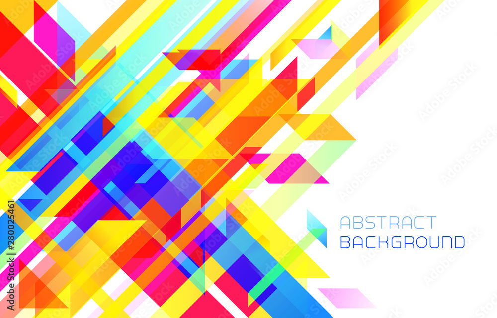 Fototapeta Abstract modern geometrical background with colorful stripes on white. Stock vector illustration.