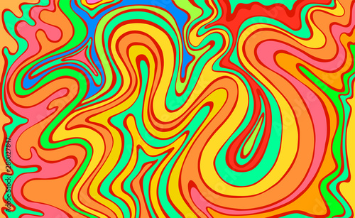 Psychedelic colorful  waves Wallpaper Mural