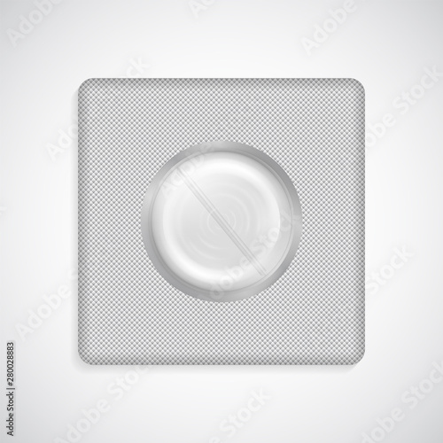 Vector pill in foil blister pack isolated on white Wallpaper Mural