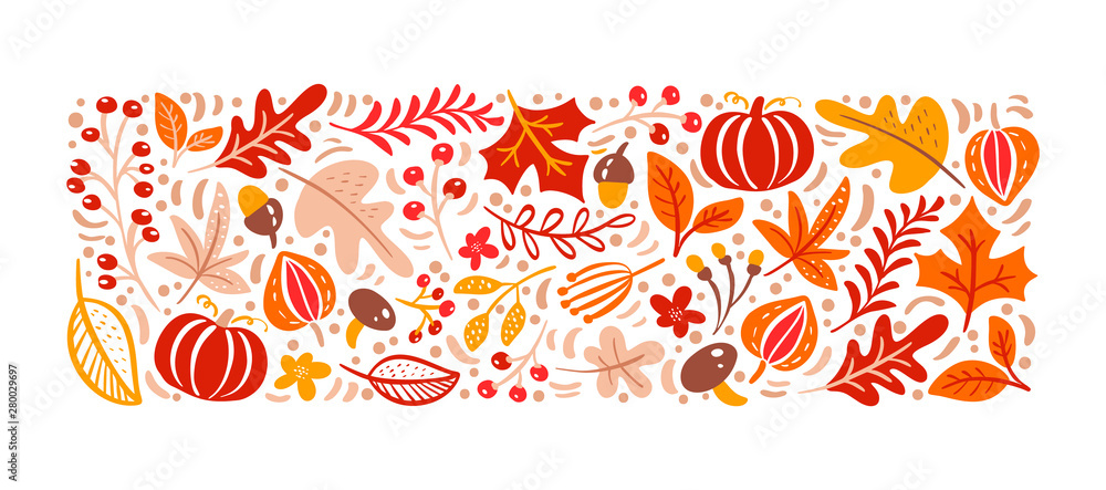 Fototapeta Vector autumn elements. Mushroom, acorn, maple leaves and pumpkin isolated on white background. Perfect for seasonal holidays, Thanksgiving Day