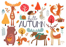 Cute Hand Drawn Autumn Forest Animals And Fall Floral Elements. Ideas For Postcards And Posters. Vector Illustrations.
