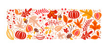 Vector Autumn Elements. Mushroom, Acorn, Maple Leaves And Pumpkin Isolated On White Background. Perfect For Seasonal Holidays, Thanksgiving Day
