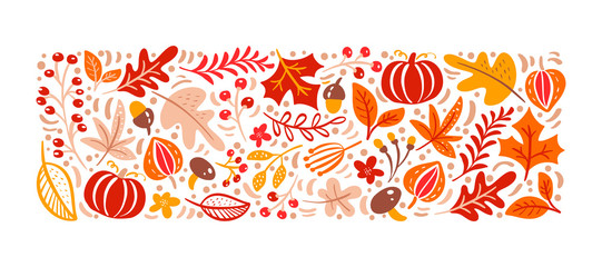 Vector autumn elements. Mushroom, acorn, maple leaves and pumpkin isolated on...