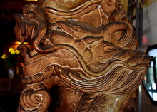 Stone Carved Dragon At A Chinese Temple