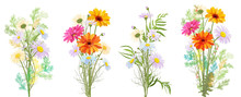 Chamomile (Daisy), Gerbera Bouquet, White, Red, Orange Flowers, Buds, Leaves, Stems, Green Twigs, Greenery. Realistic Botanical Illustration On White Background In Watercolor Style For Design, Vector