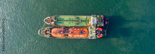 Fotografia, Obraz  Aerial top view of the ship carrying the lpg and oil tanker in the sea port