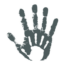 Palm Kid On The Palm Adult Man Icon. Handprints Graphic Signs Isolated On White Background. Vector Illustration