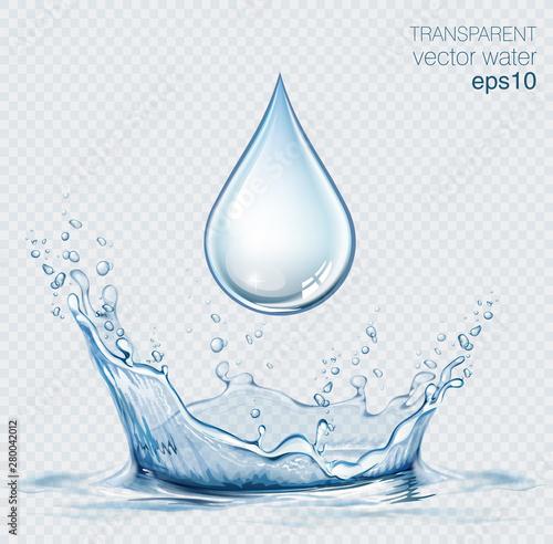 Fotografía Transparent vector water splash and water drop on light background
