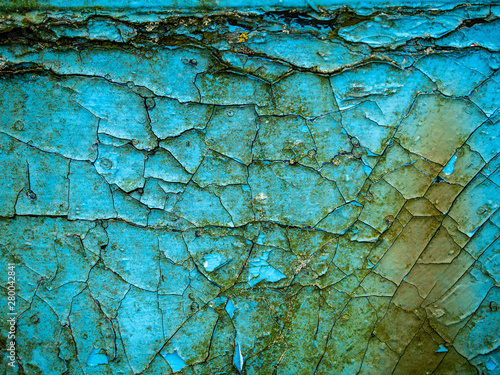 Photo sur Toile Les Textures Cracked paint on a wall texture, Blue and green color.