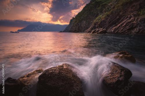 Poster Salmon Nature landscape at sunset. Liguria coast at Cinque Terre