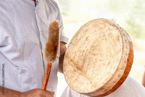 Stampa su Tela tambourine of shaman. shaman drum tambourine vibrant authentic