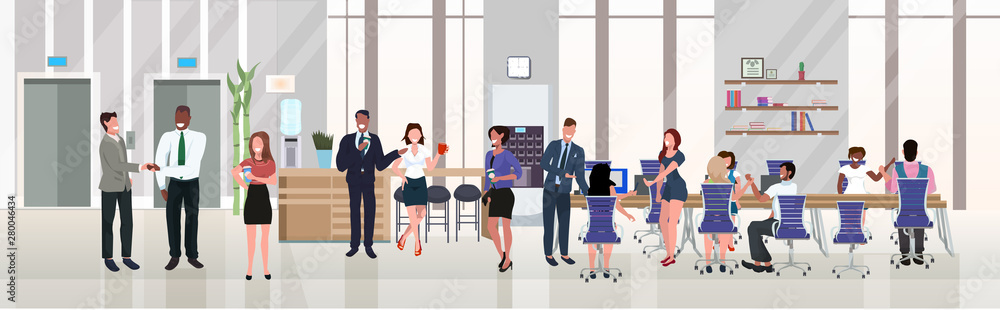 Fototapeta businesspeople employees successful teamwork concept hardworking process open space creative co-working center modern workspace office interior flat horizontal full length