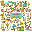 Planner and Journal related object and element collection. Hand drawn vector doodle illustration in color.