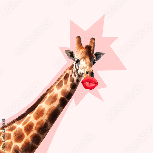 Spoed Fotobehang Giraffe Giraffe's head with shadow against it kissing by the big red female mouth. Negative space to insert your text. Modern design. Contemporary art collage. Concept of beauty of nature and animals.