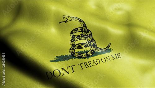 3D Waving Flag of Gadsden flag Closeup View Canvas Print
