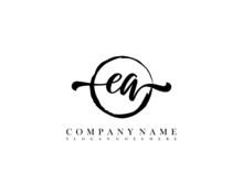 EA Initial Handwriting Logo With Circle Hand Drawn Template Vector