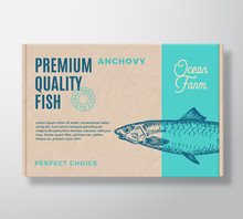 Premium Quality Fish Realistic Cardboard Box. Abstract Vector Packaging Design Or Label. Modern Typography, Hand Drawn Anchovy Silhouette. Craft Paper Background Layout.