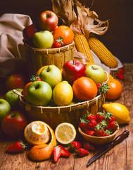 Healthy Food. Assorted Fresh Fruits.