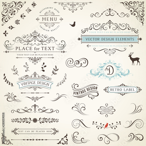 Foto  Ornate retro labels, flourishes elements, calligraphy swirls, corner ornaments and frames