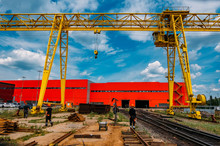 Overhead Crane And Railway For Sheet Metal Transportation In A Factory