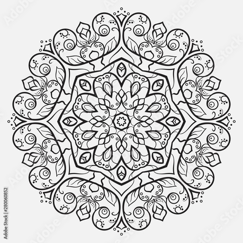 monochrome flower mandala for coloring book Wallpaper Mural