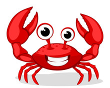 Crab Character Smiling With Bi...