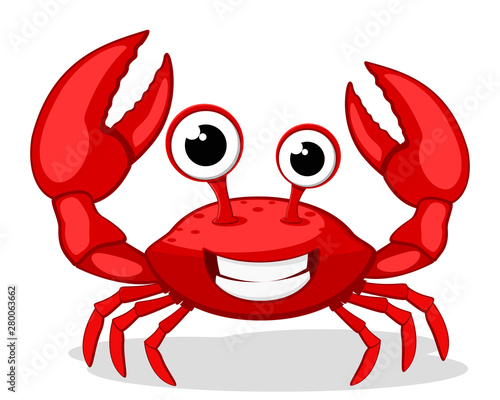Crab character smiling with big claws on a white. Canvas Print