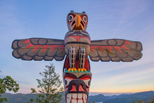 Eagle Totem Pole At The Summit Of The Malahat Mountain In Vancouver Island