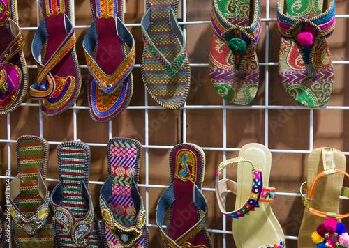 Fototapeta Flip flops in ethnic Indian style, Oman market obraz na płótnie