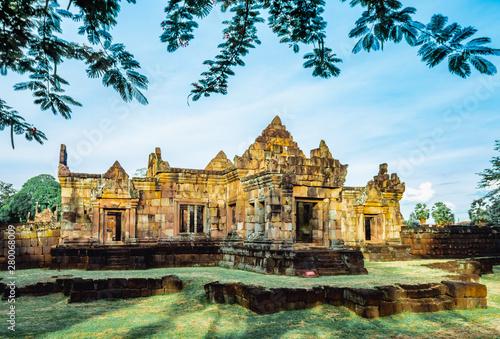 Khmer Architecture of Prasat Muang Tam Castle, Buriram, Thailand