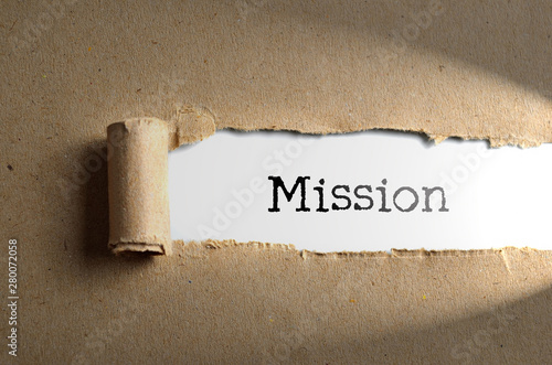 Torn paper with word Mission Wallpaper Mural