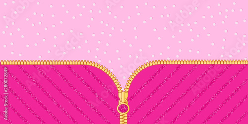 Photographie Bright pink glittered striped on light background for themed lol doll party