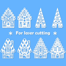 Set For Laser Cutting Of Any Materials. Gingerbread House In Paper Style. Vector