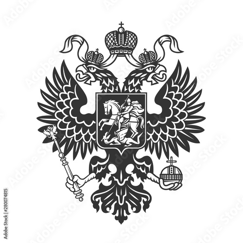 Russian coat of arms (double-headed eagle) logo isolated Fototapeta