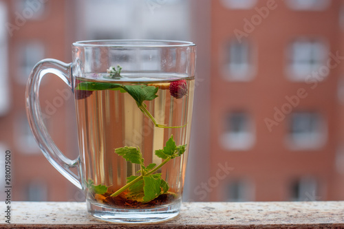 Still life cup with herbal tea. Red house with a lot of windows on the background. Strawberry leaves and berries are floating in the cup. Side view.