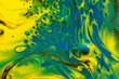 canvas print picture - Blue, green and yellow colored abstract paint background.