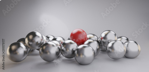 pile of balls one red 3d-illustration background Billede på lærred
