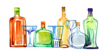 Transparent Color Glass Alcohol Bottles And Drinking Glasses In A Row. Watercolor Hand Drawn Sketch Illustration